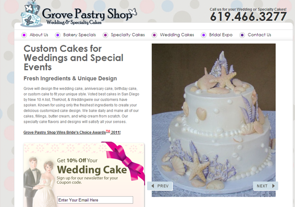 grove pastry shoppe website layout inspiration