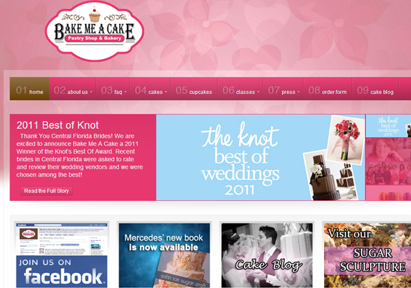 bake me a cake bakery website pink ui
