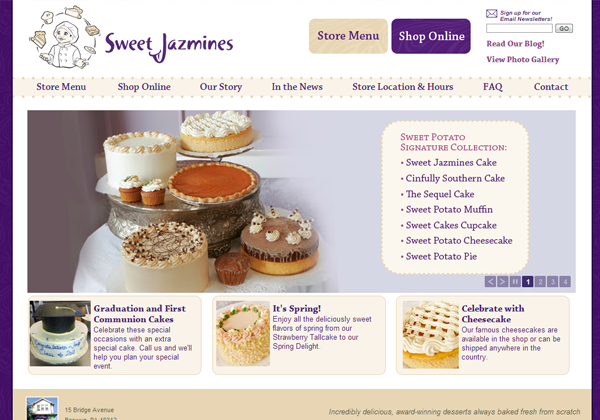 sweet jasmines bakery website layout designs creative