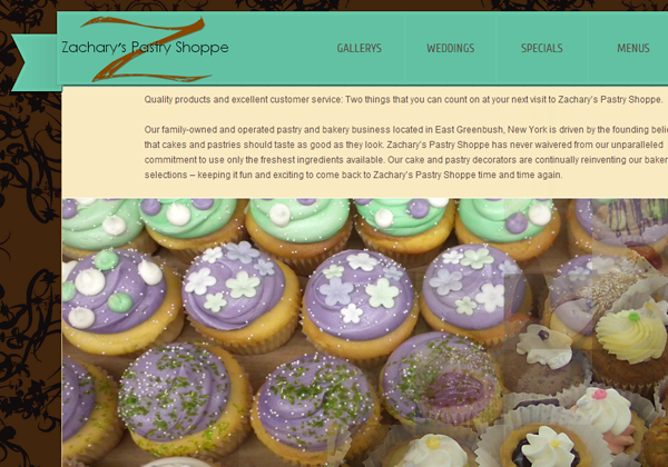 zacharys pastry shop website design inspiring
