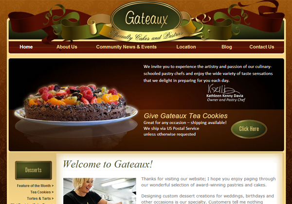 gateaux pastries website design layout ui