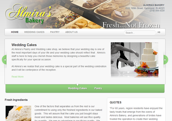 almira bakery website ui layout inspiring