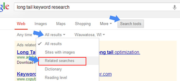 google search results seo suggest features