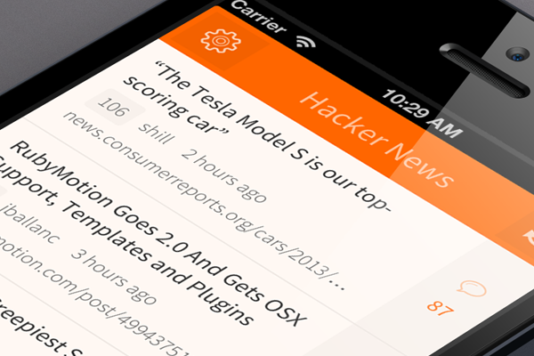 hacker news mobile ui ios interface