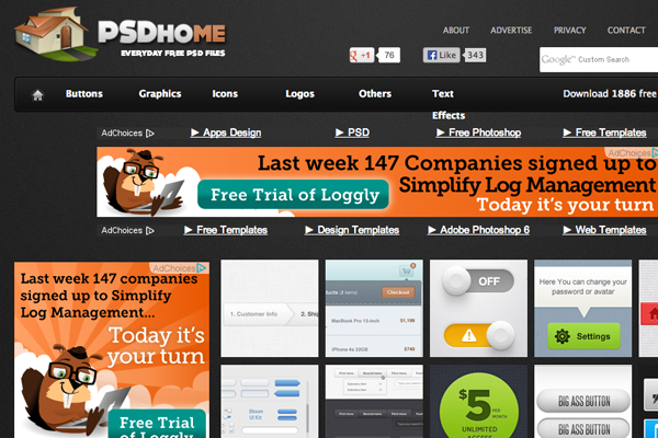 psdhome website layout homepage listings freebies