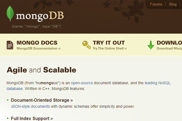 mongodb website homepage open source database branding