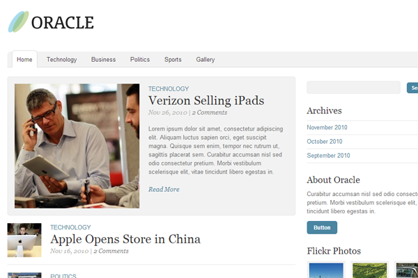 the oracle premium wordpress theme