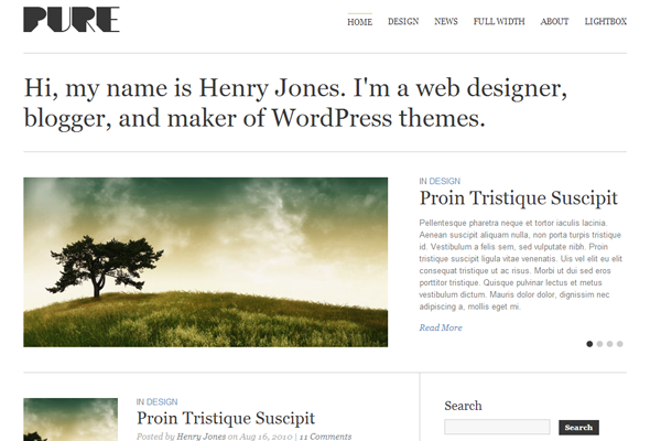 pure white wordpress blog theme