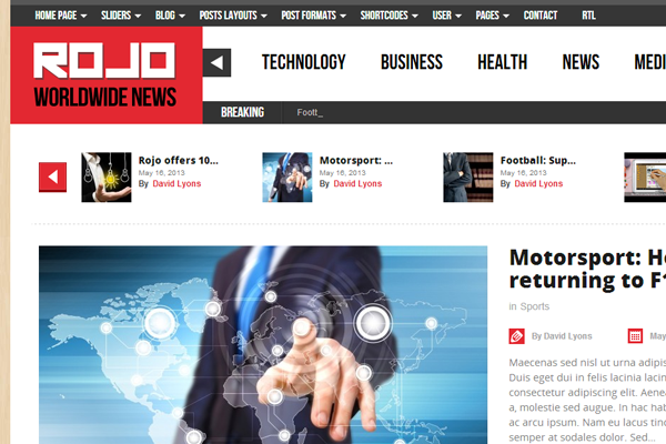 rojo responsive magazine wordpress