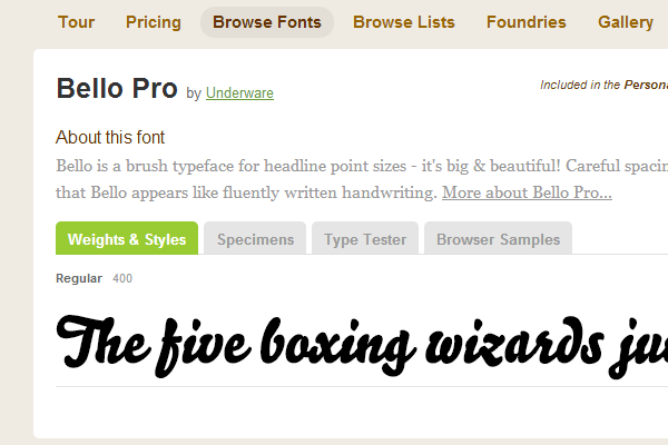 bellopro typekit curved webfont fancy