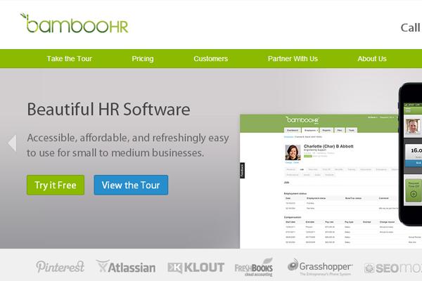 online hr services startup bamboohr homepage brand