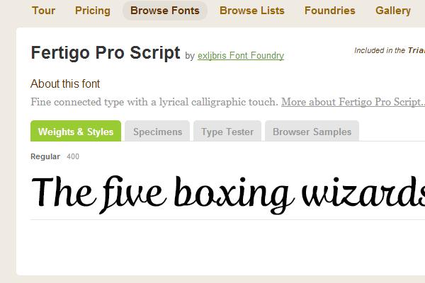 typekit script design fertigo pro webfont