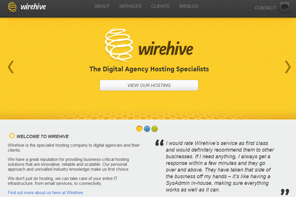 wirehive digital agency homepage interface branding