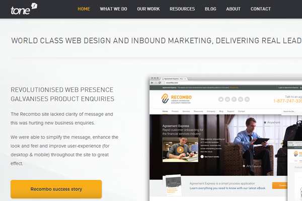 tone web design agency uk branding homepage