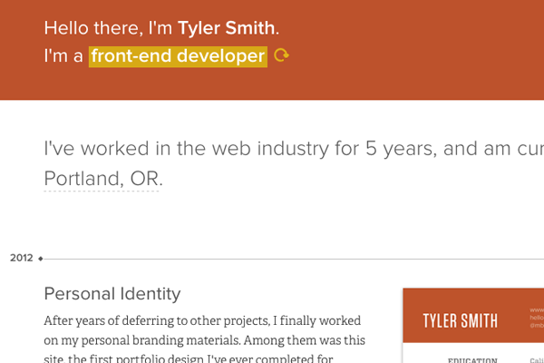 tyler smith branding web developer portfolio website
