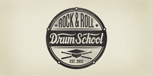 rock roll drum school logo design