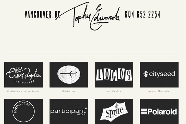 topher edwards website layout portfolio