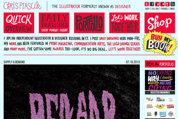 chris piascik portfolio website layout