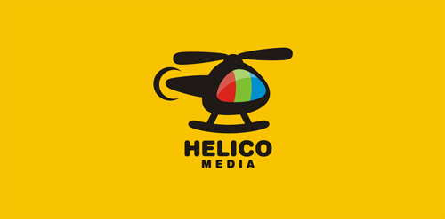 yellow helicopter logo illustration