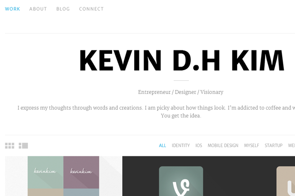 web designer portfolio kevinkim website