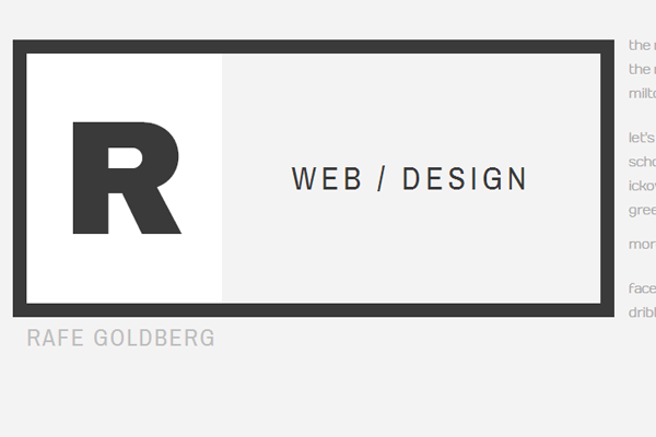 rafe goldberg website portfolio layout design