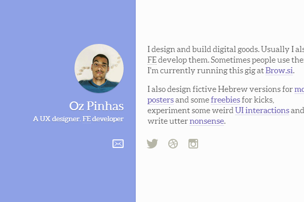 oz pinhas website designer graphics purple layout