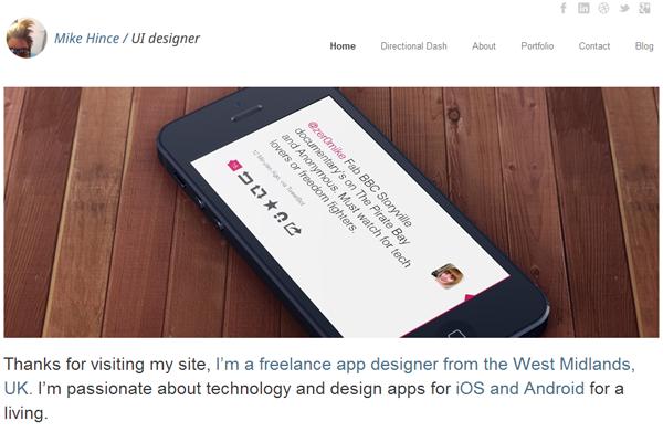 mike hince website portfolio layout inspiration