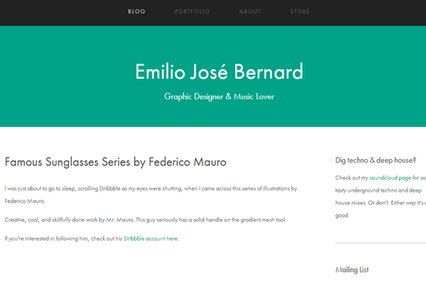 green portfolio emilio jose bernard website