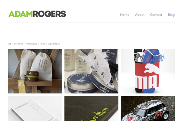 adam rogers portfolio website layout