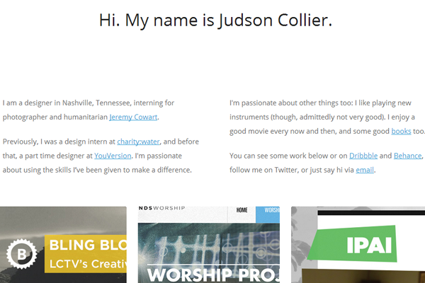 judson collier website portfolio layout