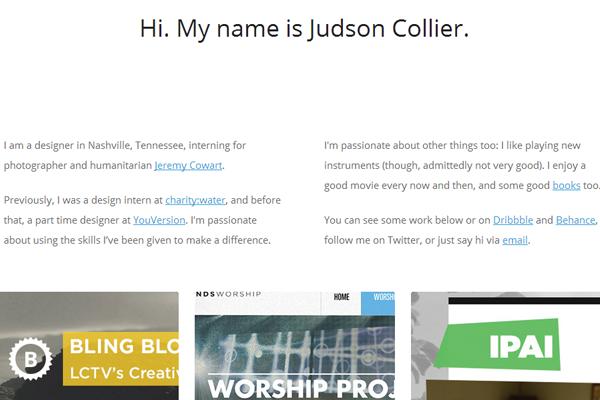 judson collier website portfolio layout