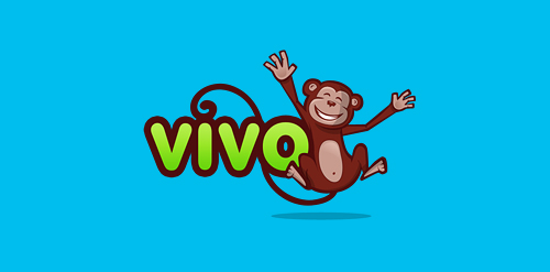 monkey blue logo design vivo inspiration
