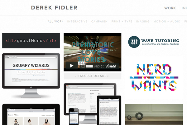 derek fidler website portfolio designer