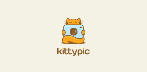 photo camera kitty cat icon design logo
