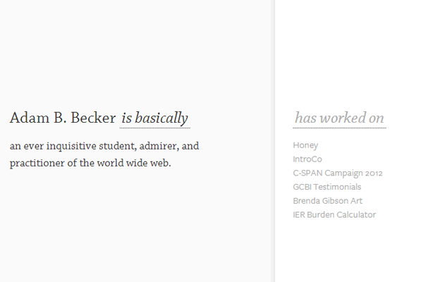 white minimal portfolio layout adam becker