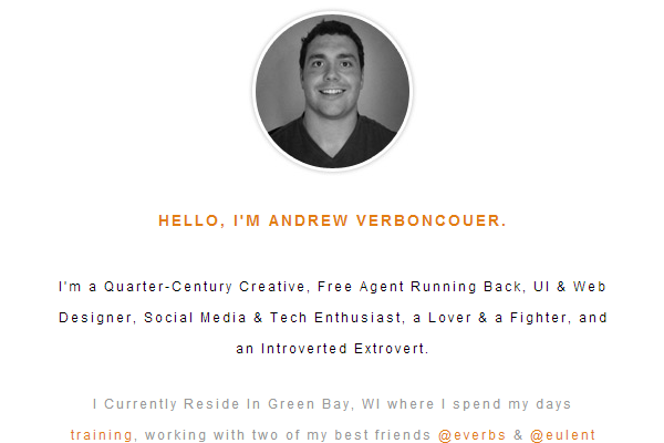 andrew verboncouer website portfolio layout
