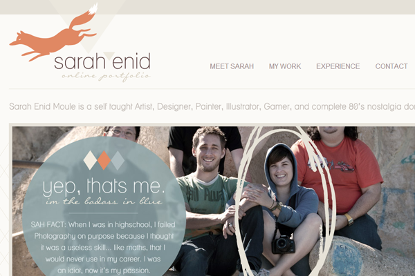 sarah enid portfolio website layout