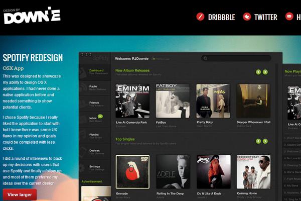 ryan downie website layout portfolio designer