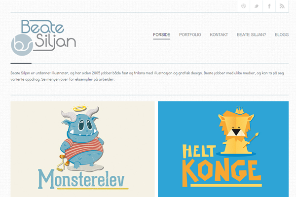 beate siljan portfolio website layout