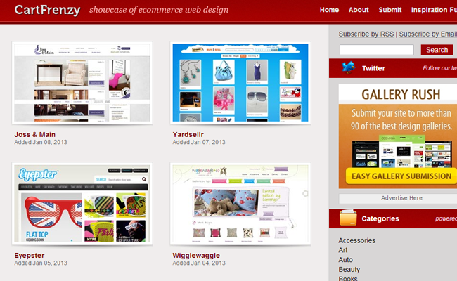 ecommerce cartfrenzy website design css gallery