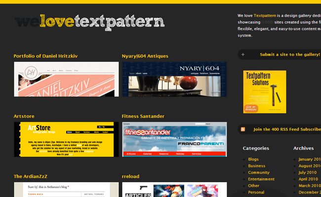 we love textpattern cms gallery