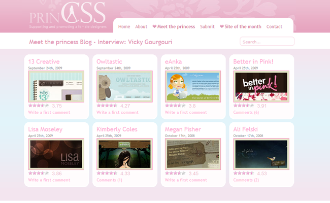 css princess girls female website design gallery