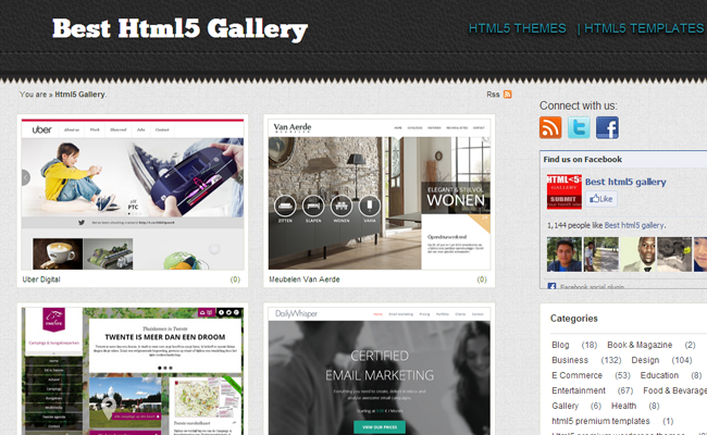 best html5 website layout gallery inspiration