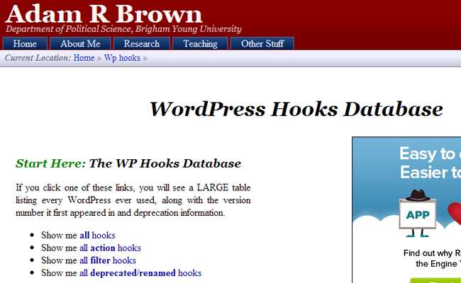 wp wordpress database hooks php list