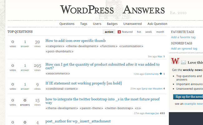 wordpress stack overflow questions answers