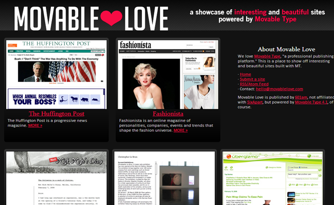 movable type cms inspiration gallery movablelove