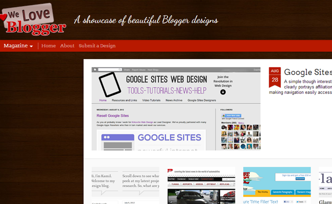 we love blogger platform cms gallery templates