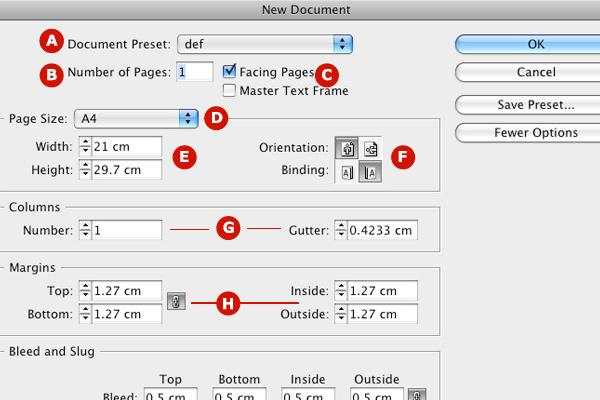 adobe indesign new document window explained
