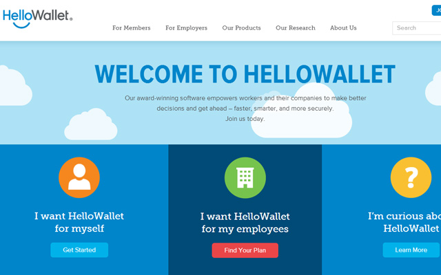 hello wallet wordpress website layout blue