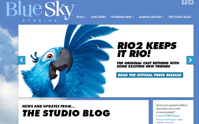 blue sky studios website layout